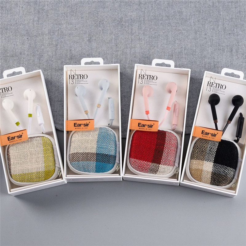 Luxury linen In-ear Earbuds Wired Earphone Sports Stereo Headphones With Earphone Case Box for Headset For Mobile Phone