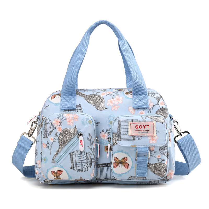 New Multi-layer Nylon Women Shoulder Bags Fashion Simple Grils Handbags Messenger Bags Printed Flowers  Crossbody Bags