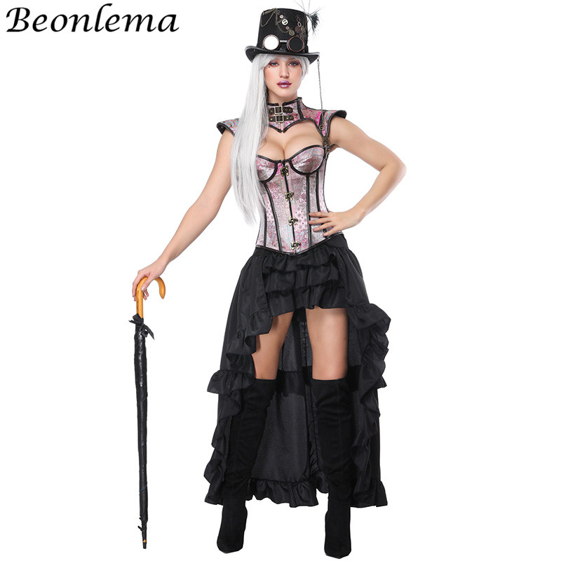 Beonlema Women Cosplay   Corset   Jacket Blue Buckle   Corset   Kawaii Pink   Bustiers   Sexy Bra Black Long Elastic Skirt Overbust Tops