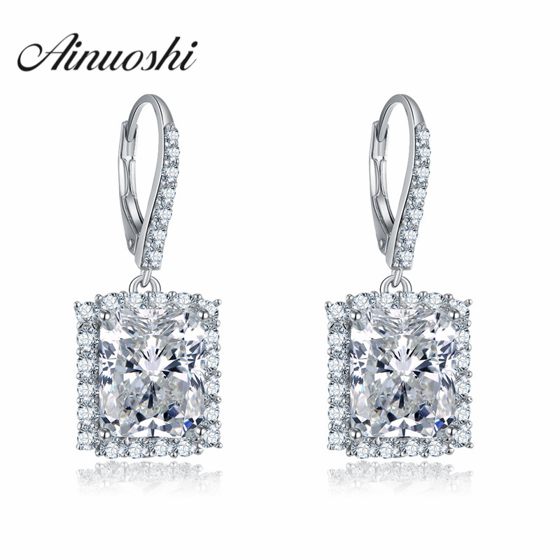 AINOUSHI Shinnig Drop Earring 4ct Rectangle Cut SONA Simulated Earring 925 Sterling Silver Wedding Earrings for Women Engagement