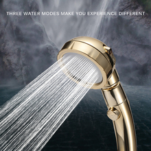 360 Degrees Adjustable Rotating Shower Head Water Saving 3 Mode Pressure With Stop Button