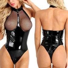 New Lingerie Womens Sexy Plus Size Latex catsuit Leather Mesh crotchless Underwear Bodysuit Sleepwear bodystocking 4XL