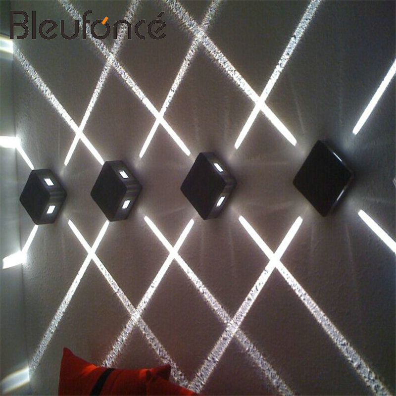 čtvercová lampa ip65 - 4pcs /lot Wall Light LED Spot Light Cross Star Lamp IP65 Waterproof  Square Facades Lighting Night lighting engineering B90N