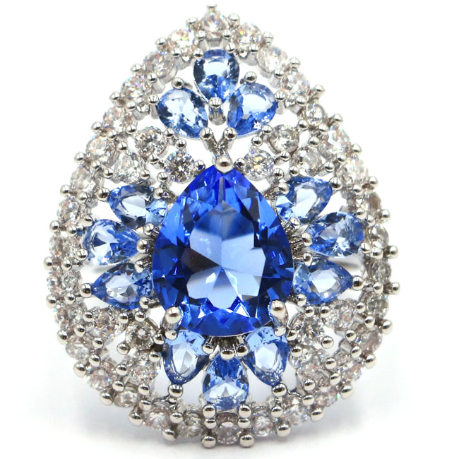 UNS sz 7,75 # Elegante Blume Grün Tsavorit Granat Natürliche Weiß Zirkonia Silber Ring 20x20mm