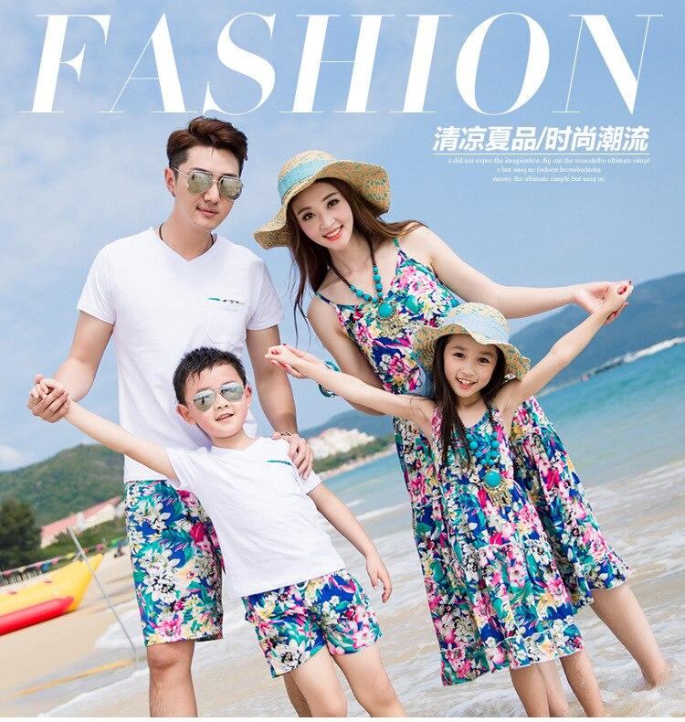 e38ae032e6f4 Летние пляжные семейные платья для мамы и дочки одежда для папы и сына  комплекты семейной одежды модные комплекты семейных футболок