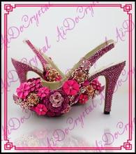 Aidocrystal 2016 Dame Abend Frühjahr Königlichen rosa kristall reine handgemachte slingback Plus Größe Sommer High Heel Schuhe