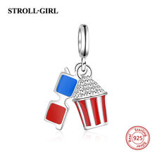 0ff15b439 StrollGirl 925 Silver blue red enamel Popcorn and glasses Charms Beads Fit  Original pandora Bracelet diy jewelry making for gift
