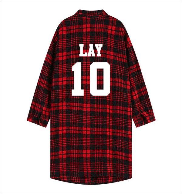 Exo Kpop Red Plaid Hoodie Dress Women Men Long Cotton Sweatshirt Harajuku  Baekhyun Tao Unicorn Polo