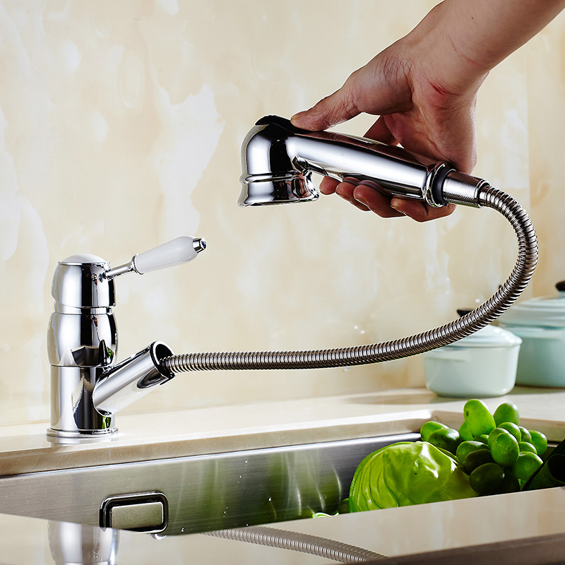 copper kitchen faucet hot and cold sink