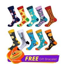 LIONZONE 10Pairs/Lot Happy Socks Men Funny Art BritishStyle Streetwear Crew Sock