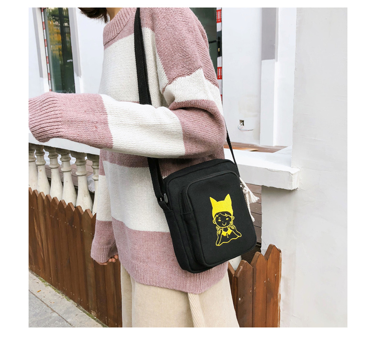 Menghuo Canvas Shoulder Bags for Girls Cartoon Printing Totes Small Flap Casual Messenger Bag Handbag Crossbody Bag for Women_24