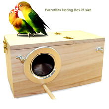 2015 hot sell bird breeding Nest Box Wood vlsivery DIY Kit Parrot Cage Fitting Nesting Lock  small