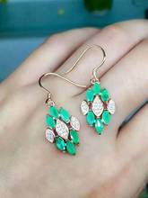 natural green emerald earrings 925 silver Natural gemstone earring women fashion elegant diamond earrings for party