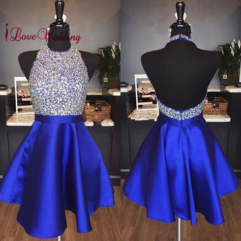 Hot New 2018 Short   Cocktail     Dress   Royal Blue Satin Heavy Major Beadings Sexy Open Back Cheap Halter Party Gown