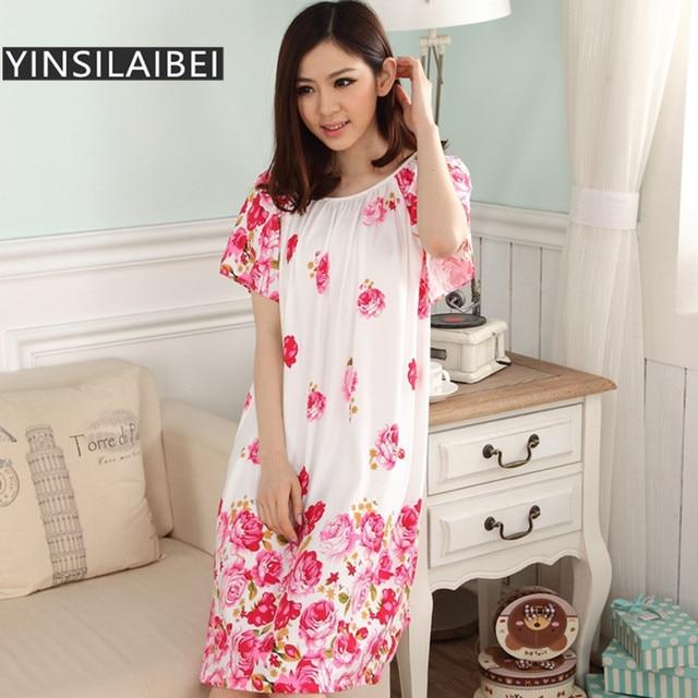 Summer Short Sleeve Dressing Gown Long Satin Nightgown Women ...