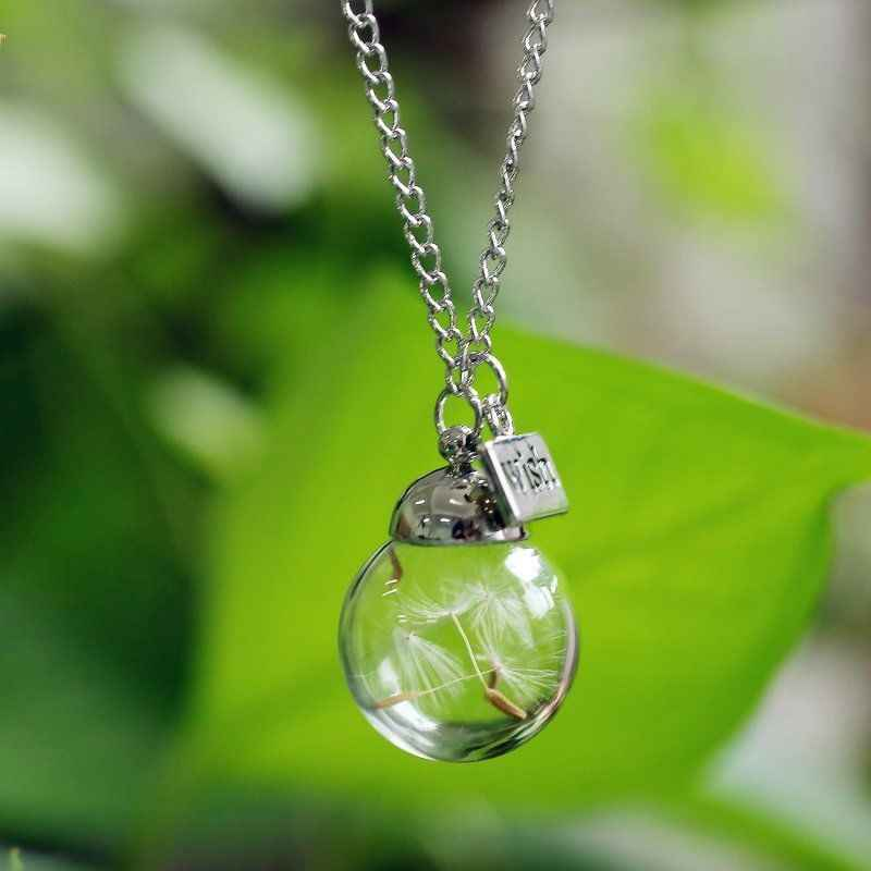 DIY Handmade Glass Bottle Vial Dandelion Seed Inside Wish Necklace Make A Wish Glass Bead Charms  Necklace