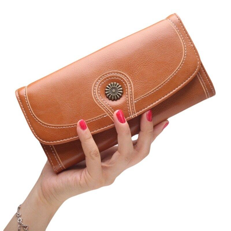 Brieftasche, lange öl, wachs, leder, frauen karte, tasche, multi-funktion große banknote clip.