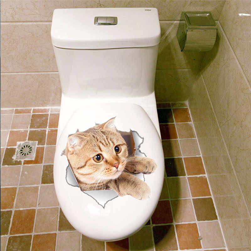 الفينيل للماء القط الكلب 3D جدار ملصقا حفرة الرؤية الحمام المرحاض غرفة المعيشة ديكور المنزل صائق ملصق خلفية ملصقات الحائط