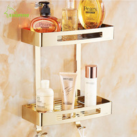 AUSWIND Silver Rose Gold Polished 304 Stainless Steel Square Bathroom Shelves 1/2 Toilet Wall Bracket Bathroom Accessories Kd10
