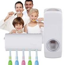 Koupelnový set – automatický dávkovač pasty + držák na 5 kartáčků