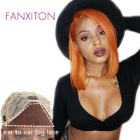 FANXITON Synthetic Lace Front Wig For Black Women Glueless Orange Lace Front Wigs Straight Short Bob Wigs Synthetic Hair Wigs