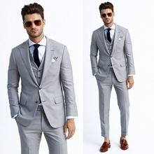 3pcs Best Man Groom Suits Tuxedos for Party Wedding Light Grey Men Blazer  Custom Made