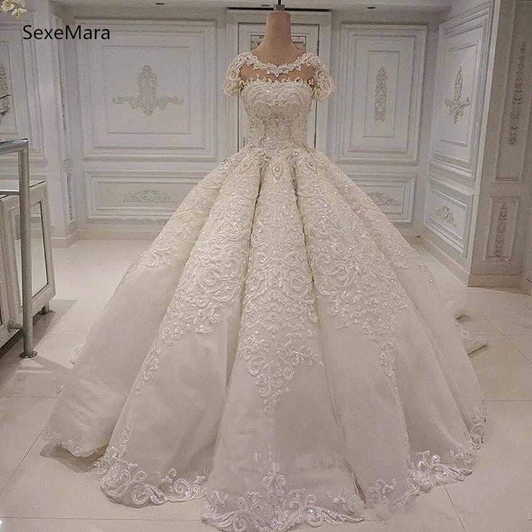Hot Price Luxury Ball Gowns Wedding Dresses Jewel Neck Beaded Lace Appliques Sequins Bridal Gowns Arabic Wedding Gown Custom Made Size October 2020,Dress To Wear To A Wedding In November