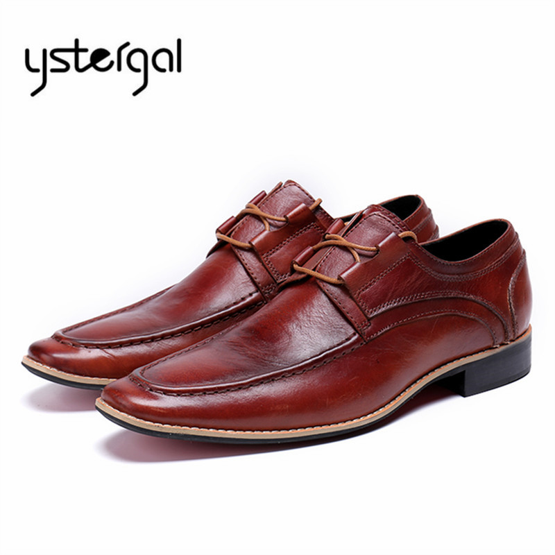 YSTERGAL Genuine Leather Men Casual Shoes Lace Up Wedding Dress Shoes Prom Flats Mens Oxfords Chaussure Homme Mocassin