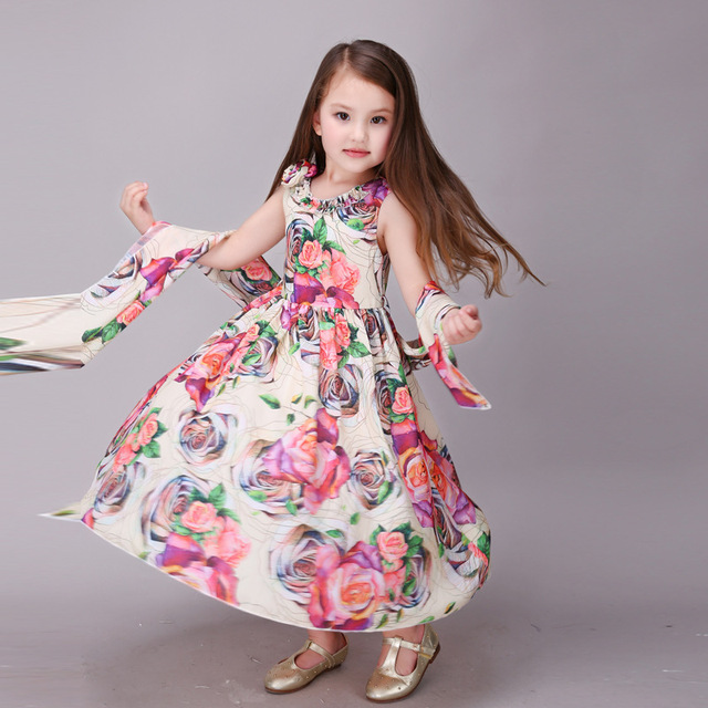 bb92790035 Beach Summer Children Girl Dress Long Belt Rose Floral Fashion Kids Dresses  Party Festival Girls Clothes
