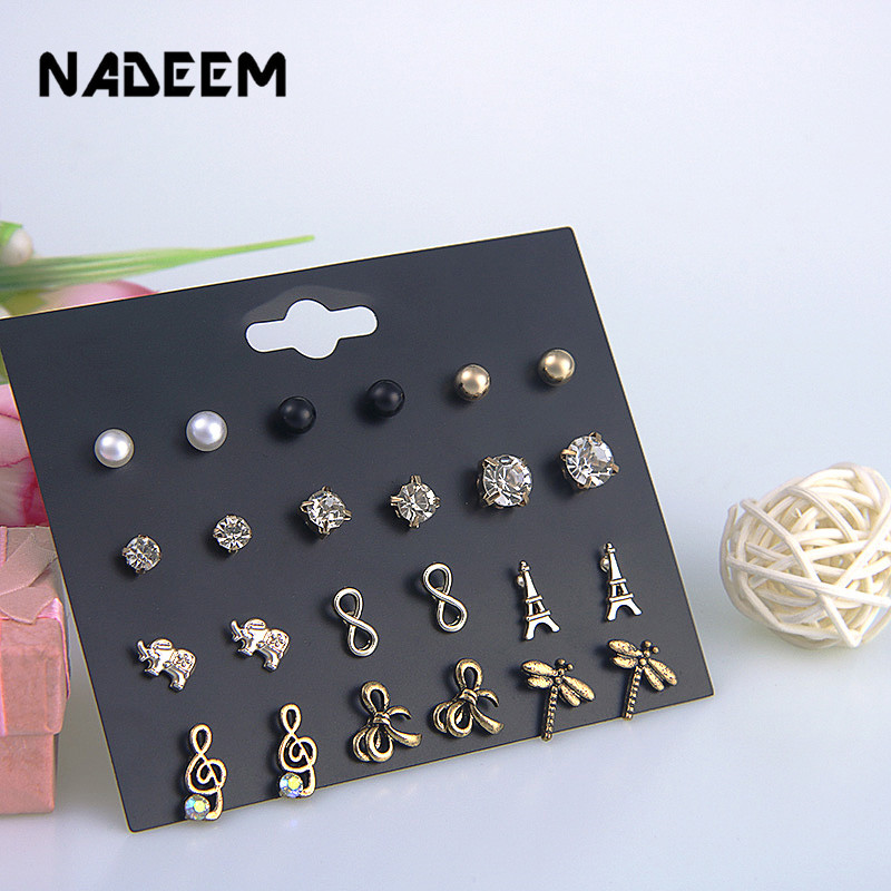 Wholesale Mixed Gold Color Round,Bowknot,Tower.Elephant,Dragonfly,Infinity Stud Earring Sets For Women Girl 12Pairs/Set Jewelry