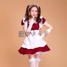 купить 2018 Sexy French Maid Costume Sweet Gothic Lolita Dress Anime Cosplay Sissy Maid Uniform Plus Size Halloween Costumes For Women дешево