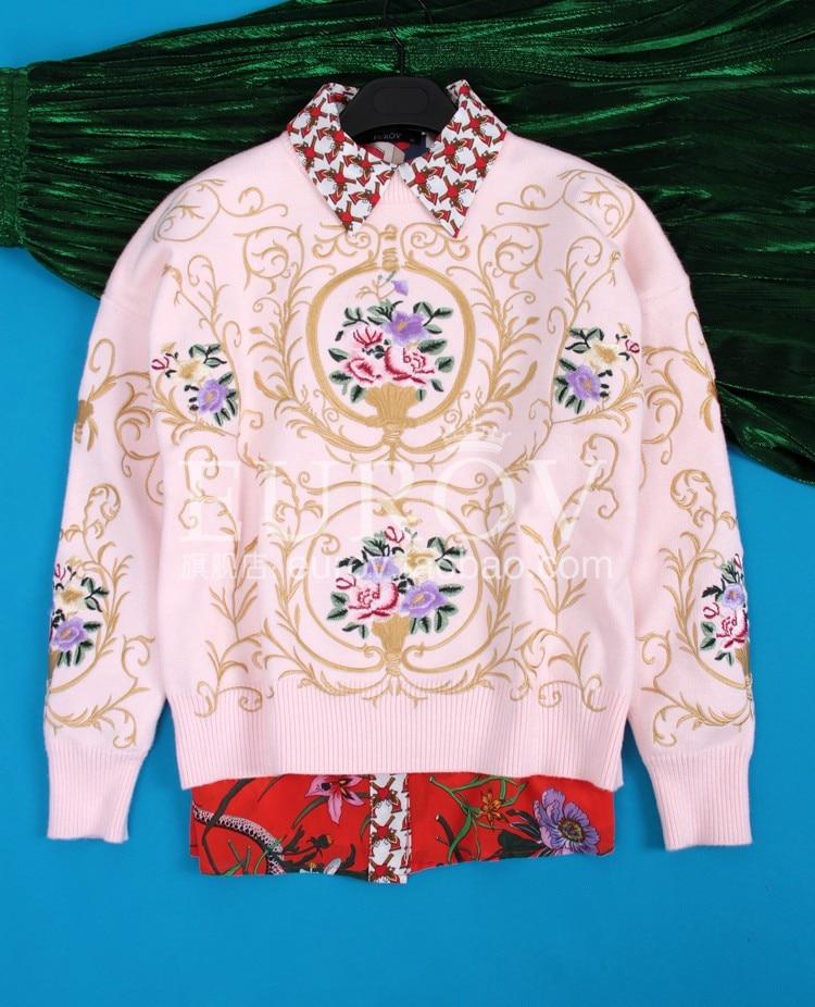 Mode O La De Fleur Rose Top Main Chandail cou Automne 2018 Manches Femmes Broderie Nouvelles Tricoter Longues Pulls Femmale À ICPFw