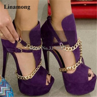 Ladies Unique Style Charming Gold Chains Design High Platform Gladiator Sandals Purple Orange Suede Leather High Heels