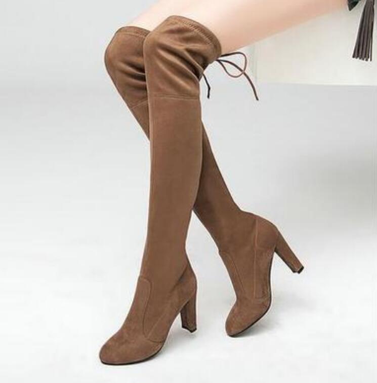 Alta Moda Black Mujeres Botas Rodilla brown Top Stretch Zapatos Tacones Altas Slim Mujer grey Muslo 43 Del Gamuza red De Encima La Sexy Por RRYF7