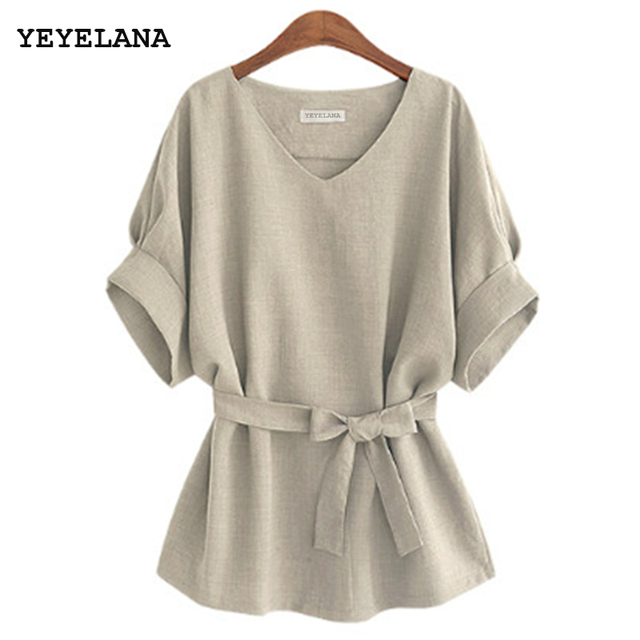 YEYELANA 2018 Summer Women Blouses Linen Tunic Shirt V Neck Big Bow Batwing Tie Loose Ladies Blouse Female Top For Tops A073 1