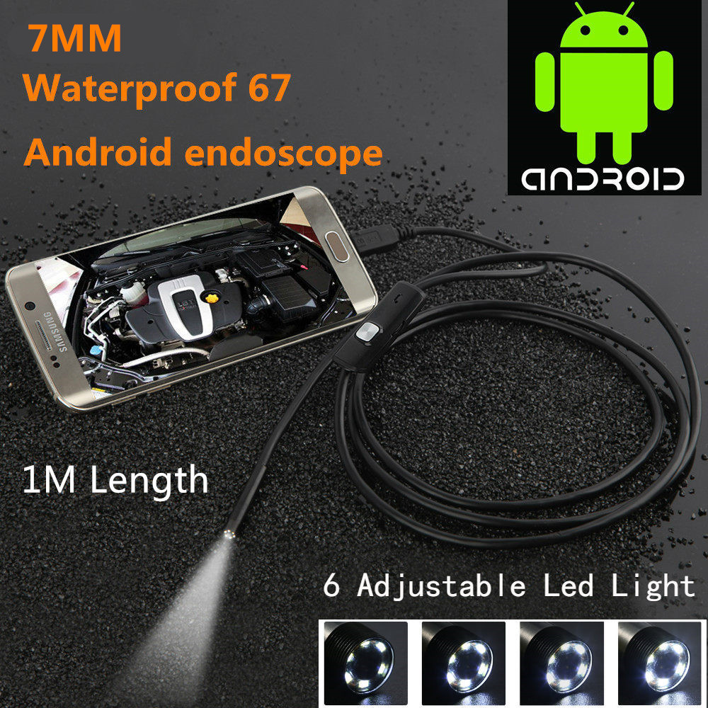 1M 720P HD 7mm lens Inspection Pipe Endoscope Snake Tube Waterproof Mini USB Camera with 6 LEDs Borescope For Android Phone PC