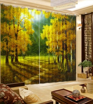 forest Curtain Decoration 3D Brief tree Curtains For Bedroom Living room auturn curtains modern living room curtains