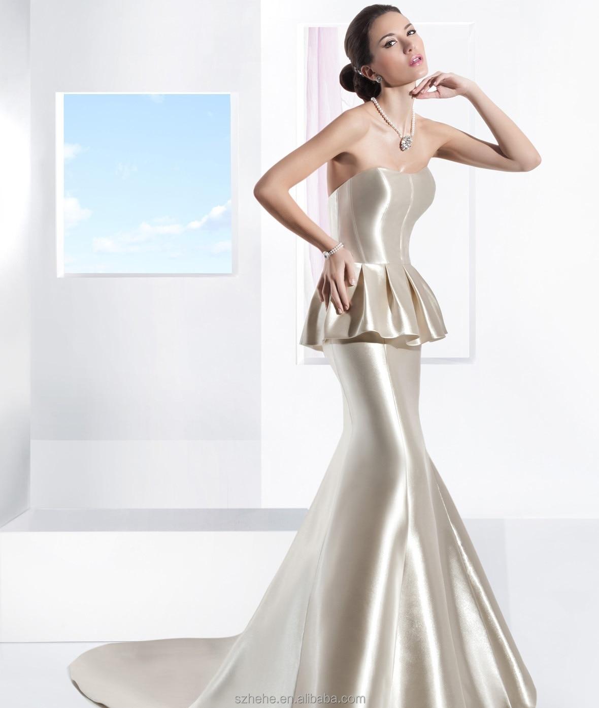 Elegant CW2453 with beaded belt peplum simple mermaid wedding dress ...
