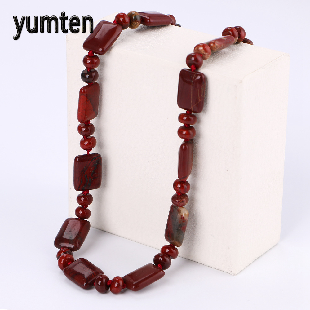 Yumten Rotem Jaspis Perlen Kette Stein Halskette Frauen Edelstein Modeschmuck Kettingen Voor Women Bijoux Femme Collier Luxe