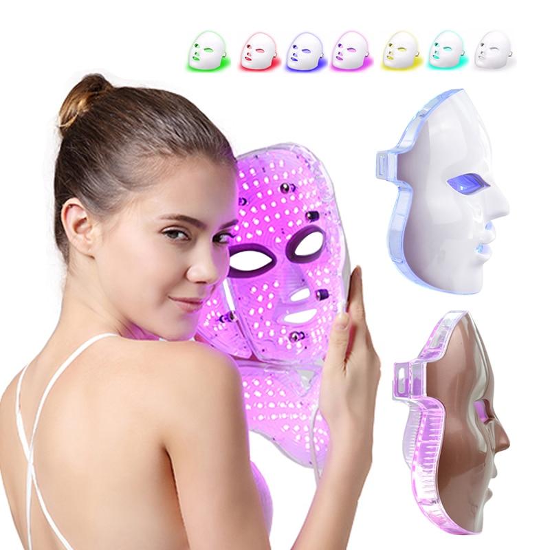 Korean Photon Treatment LED Facial Mask 7 Colors Light Therapy Mask Skin Care Rejuvenation Anti Wrinkles Acne Removal Beauty Spa