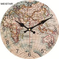 MEISTAR Fashion Vintage World Map Wall   Clock   Silent Living Study Kitchen Bath Room Home Wall Decoration Art Watches Large   Clocks