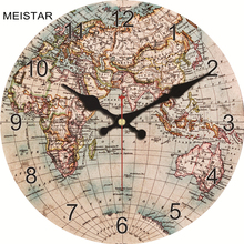hot deal buy meistar fashion wooden world map wall clocks silent durable design living study room home wall decoration clocks art watches