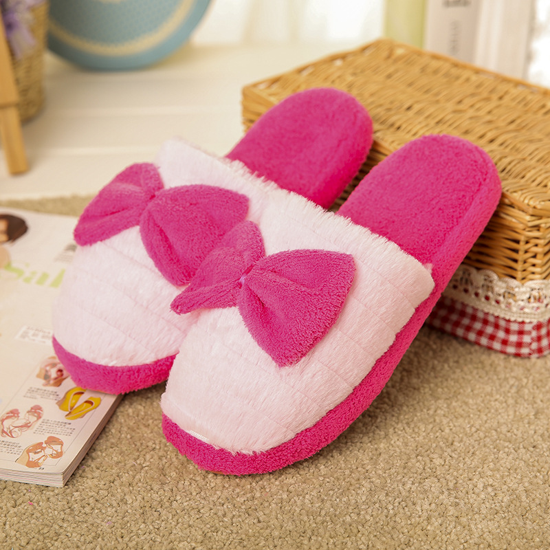 2017 New Style Butterfly-knot Plush Indoor Slipper Woman Shoes Home Shoes Candy Color Indoor Flat Shoes Warm Indoor Carpet Shoes