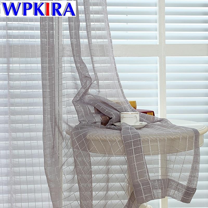 €4.41 33% de réduction|Rideaux de fenêtre en treillis blanc pour salon  rideaux gris Voile transparent rose café Plaid coton Tulle rideau de  cuisine ...