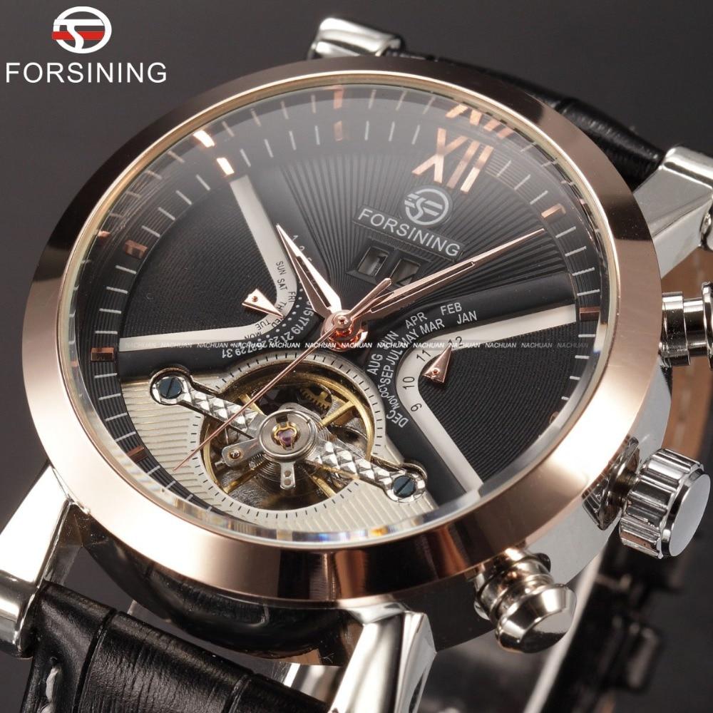 Forsining Tourbillion Classic Design Calendar Display Golden Bezel Genuine Leather Automatic Watch Mens Watches Top Brand Luxury