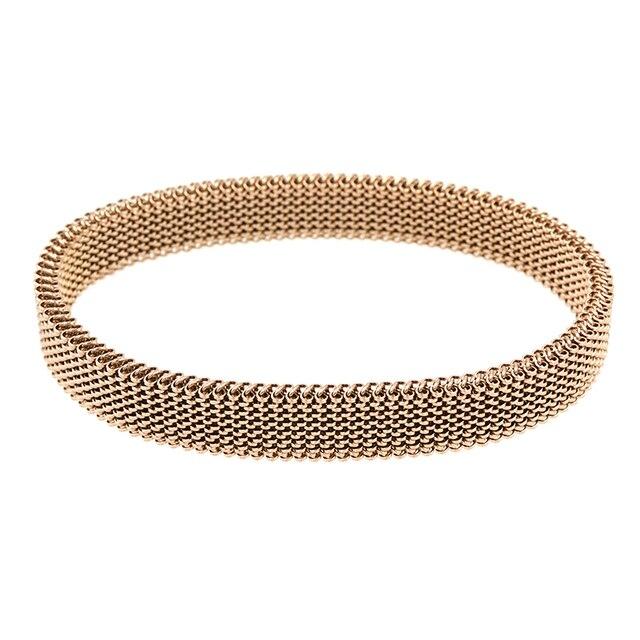 女性ラウンドローズゴールド弾性ブレスレットカジュアルチャーム柔軟なステンレス鋼の宝石のブレスレット腕輪ギフト卸売卸売