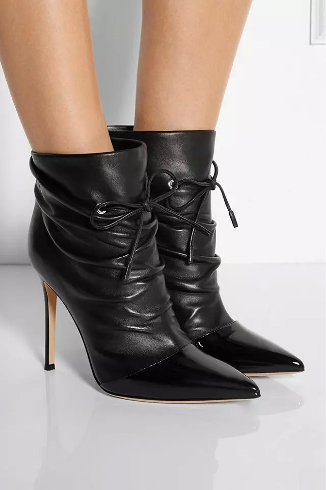 Glittering black patent leather pointed toe patachwork women short boots  lace up thin high heel ankle boots discount price 59964515a9