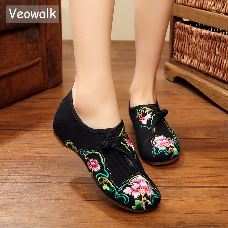 Veowalk Vintage Floral Embroidered Women Canvas Ballet Flats Cotton Buckles Elegant Ladies Casual Embroidery Comfortable Shoes floral embroidered tie sheer kimono