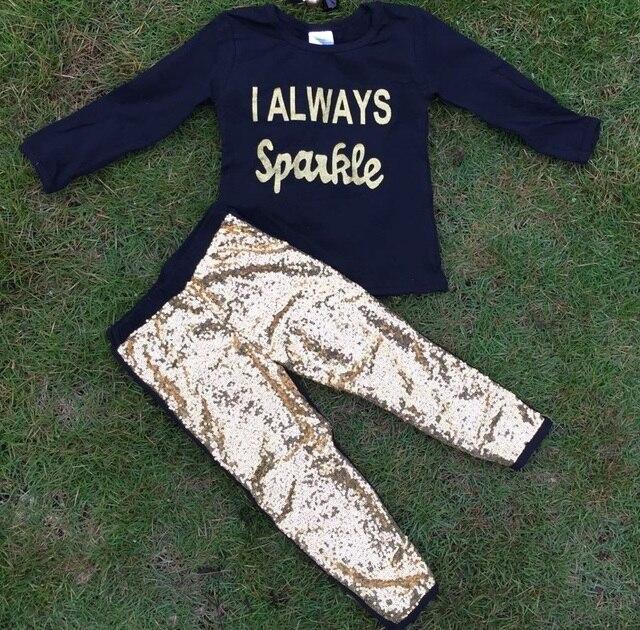 Новые девушки я всегда искра комплект девочек золото брюки комплект девочек одежду падения девушки топ черный комплект дети с длинным рукавом устанавливает
