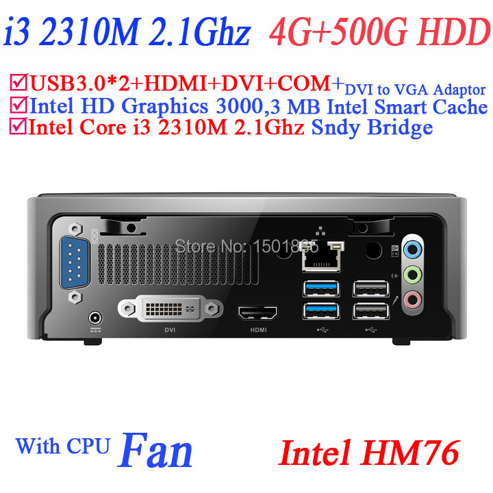 OEM lowest price thin client mini computer with Intel Core i3 2310M 2.1Ghz 4G RAM 500G HDD mini pc windows embedded
